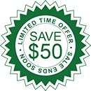 Save $50 On the Purchase of Comfort Deluxe Infrared Heater Sticker